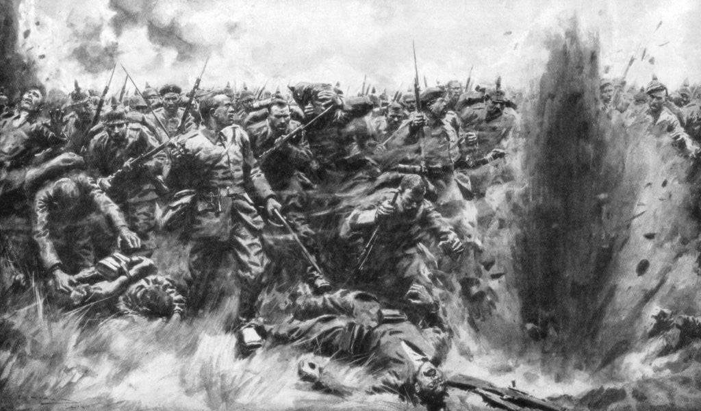 Detail of 'A Massive German Attack on the British Front', World War I by Arthur C Michael