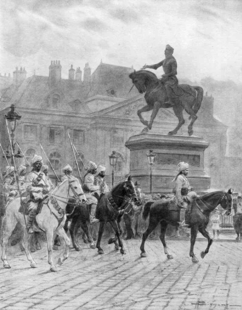 Detail of 'Bengal Mounted Lancers passing the statue of Joan of Arc', France by J Simont