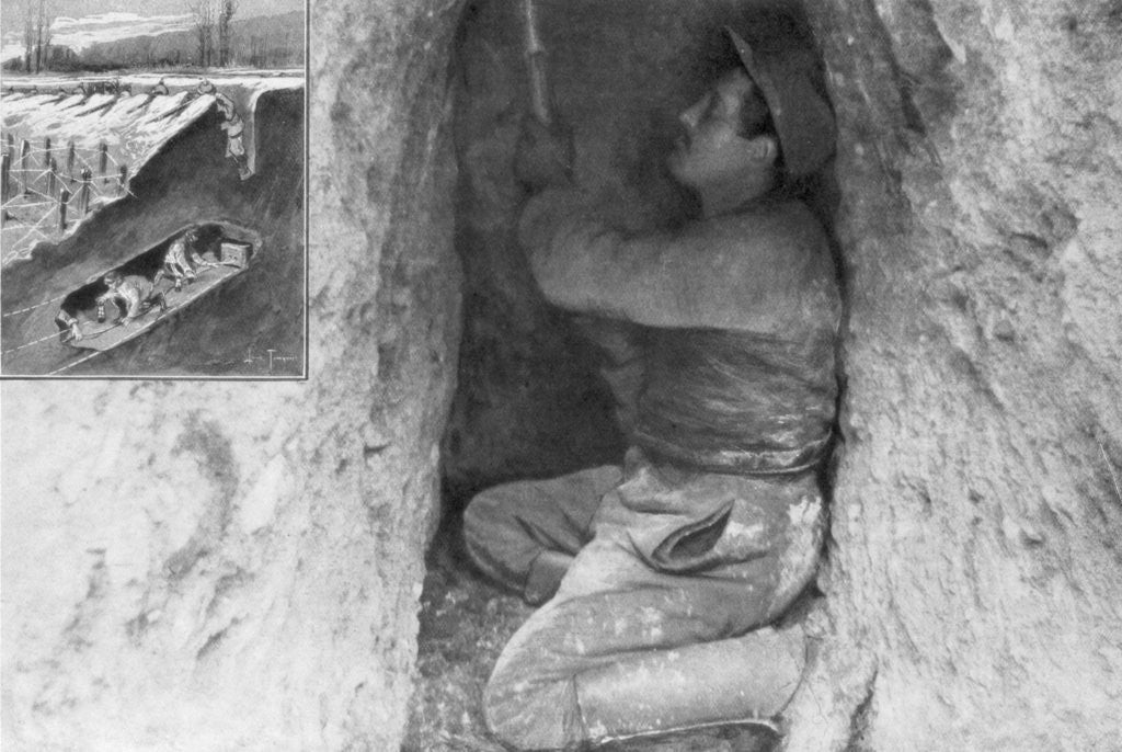 Detail of A French sapper digging a tunnel to place a mine under the enemy lines, France by Anonymous