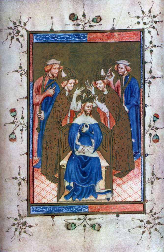 Detail of 'Crowning of a King', from the Liber Regalis, Westminster Abbey by Anonymous