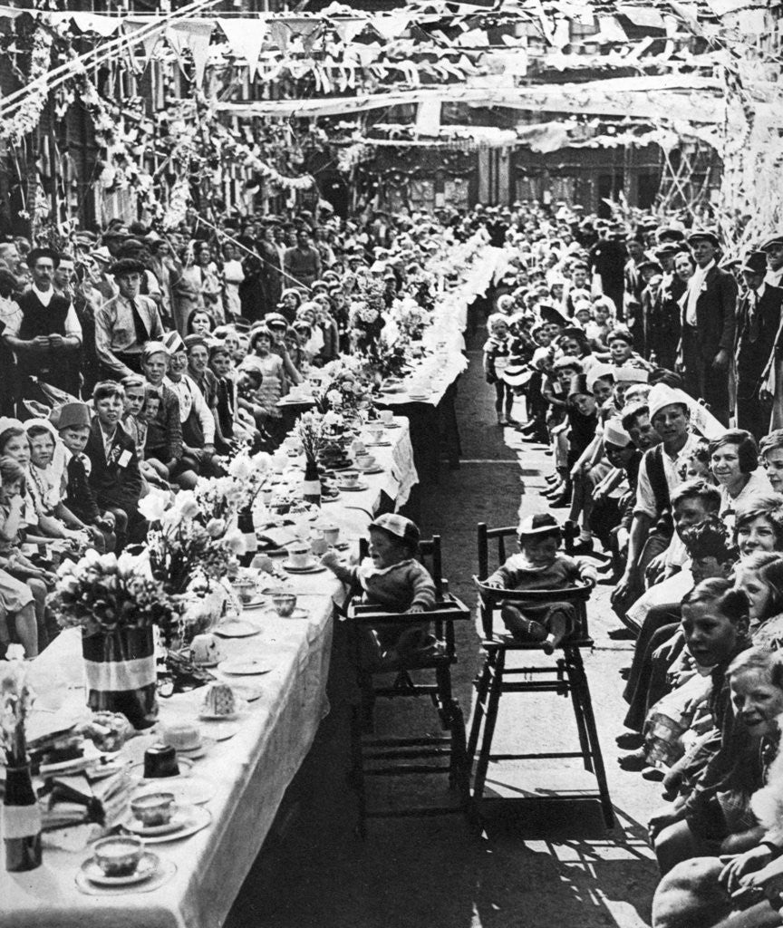 Detail of Jubilee tea party for children in Orville Road, Battersea, London by Anonymous