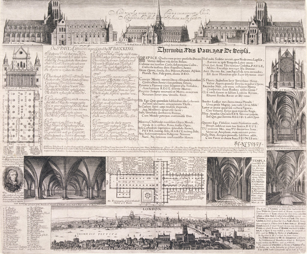Detail of Plans of St Paul's Cathedral, London by Daniel King