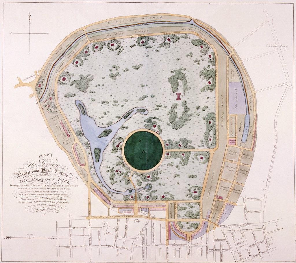 Detail of Plan of Regent's Park, London by Anonymous