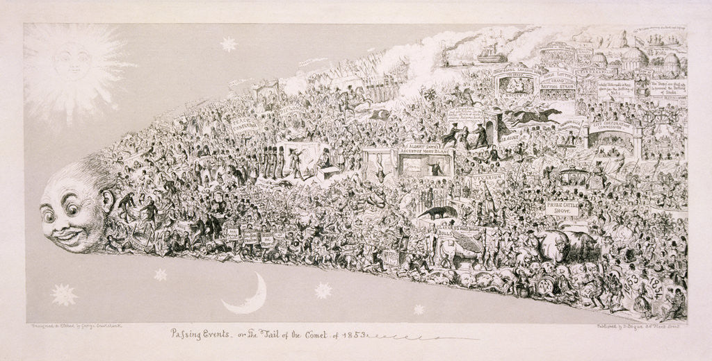 Detail of Passing events, or the tail of the comet of 1853' by George Cruikshank