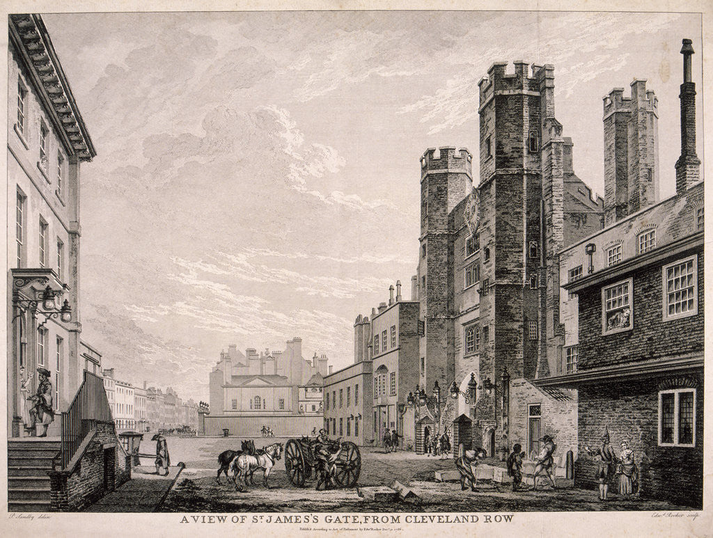 Detail of St James's Gate leading to St James's Palace, London by Edward Rooker