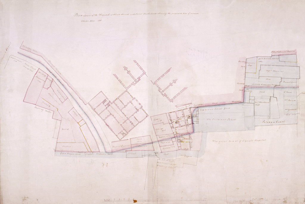 Detail of Plan of part of Christ's Hospital, Newgate Street and St Bartolomew's Hospital, London by John Shaw the Elder