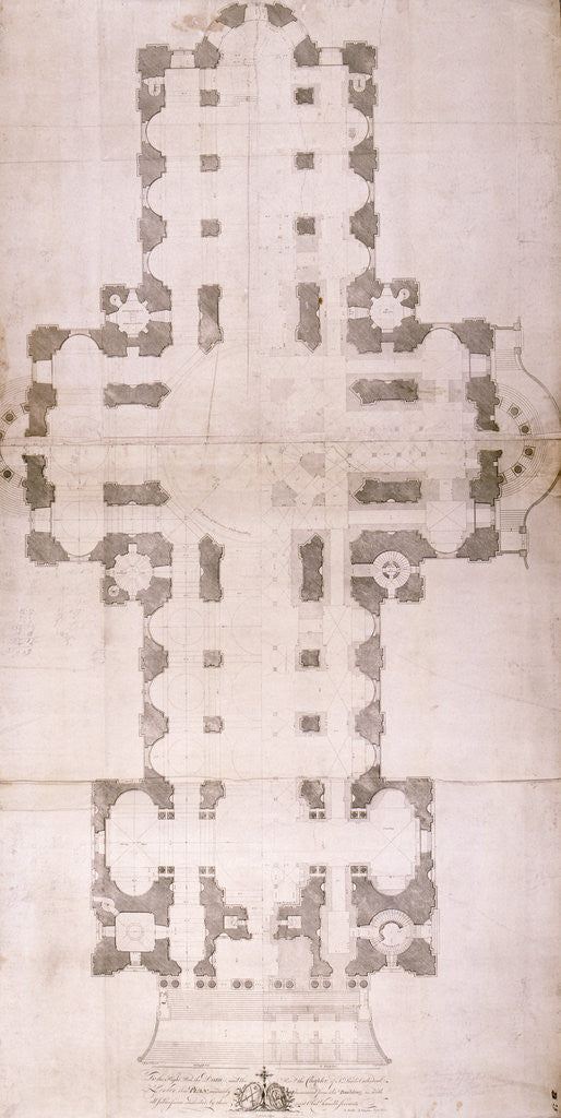 Detail of Plan of St Paul's Cathedral, London by