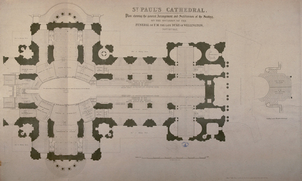 Detail of Plan of seating arrangements for the Duke of Wellington's funeral by Anonymous
