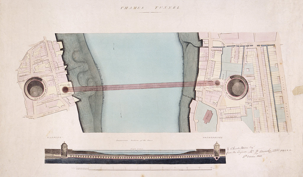 Detail of Plan and longitudinal section of the Thames Tunnel, London by Anonymous