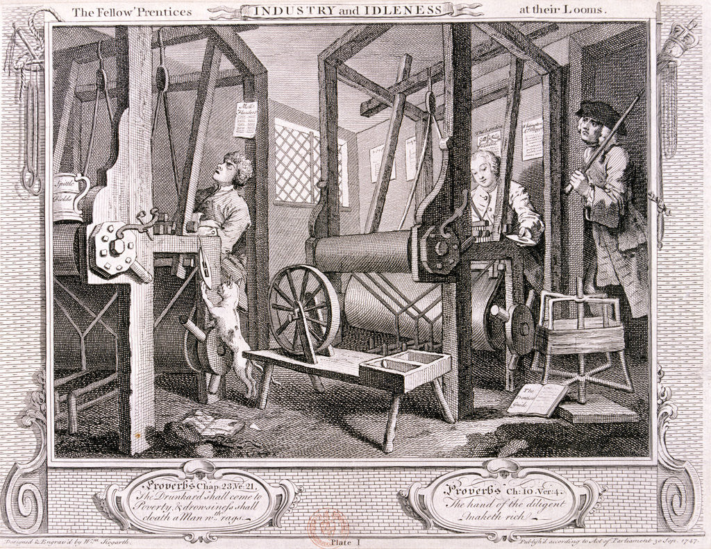 Detail of The fellow 'prentices at their looms', plate I of Industry and Idleness by