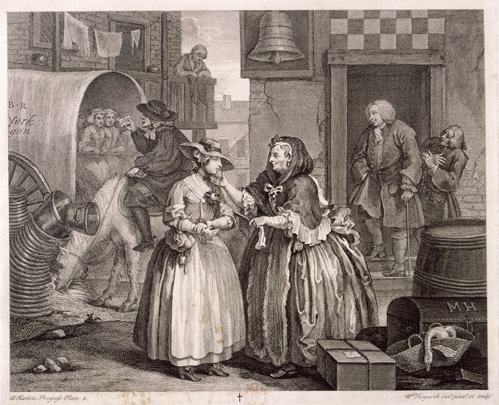 Detail of Innocence betrayed, or the journey to London, plate I of The Harlot's Progress by William Hogarth
