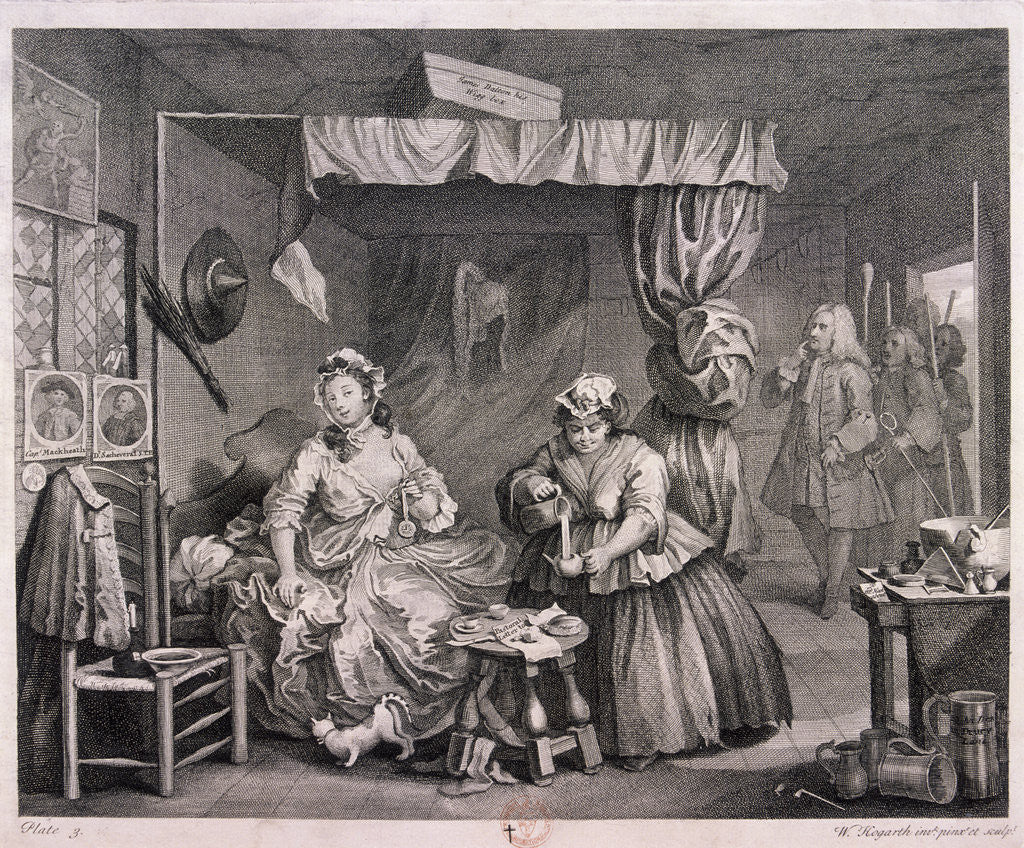Detail of The Compleat trull at her lodging in Drury Lane, plate III of The Harlot's Progress by William Hogarth