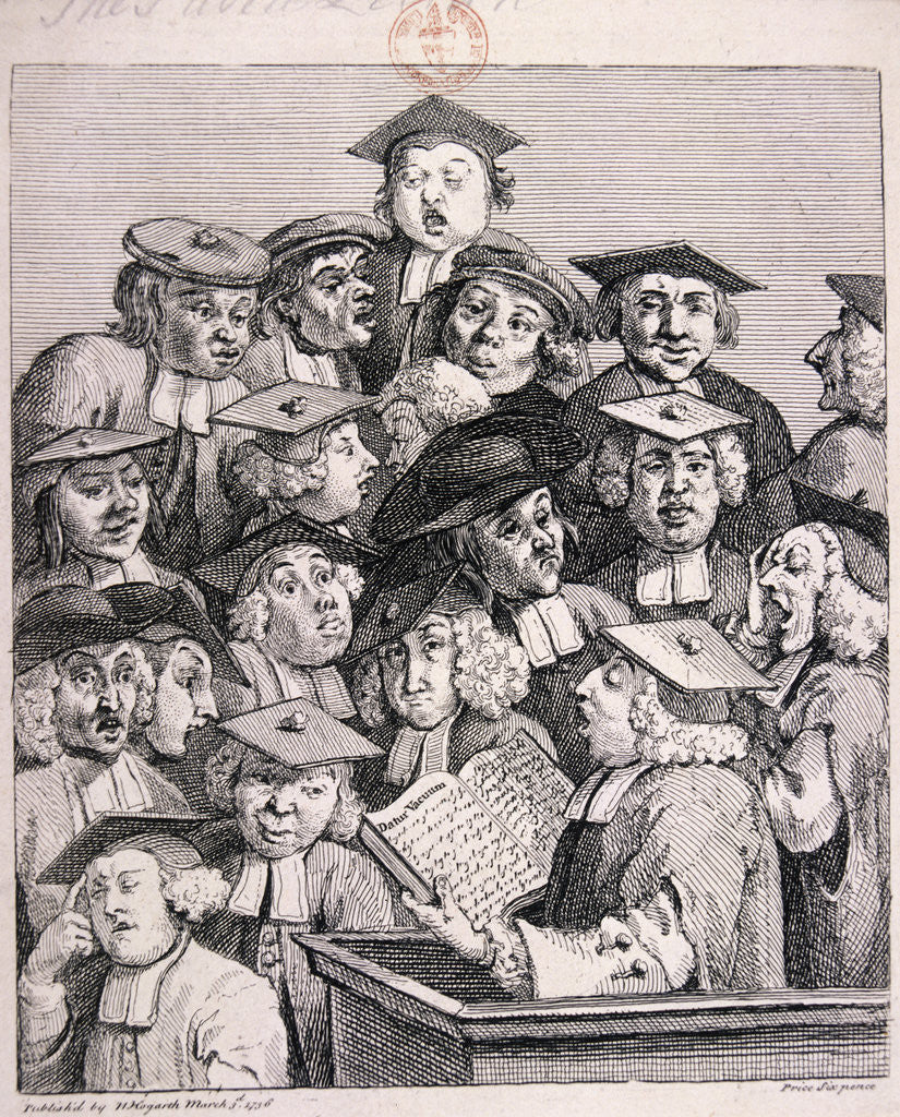 Detail of Scholars at a lecture by William Hogarth