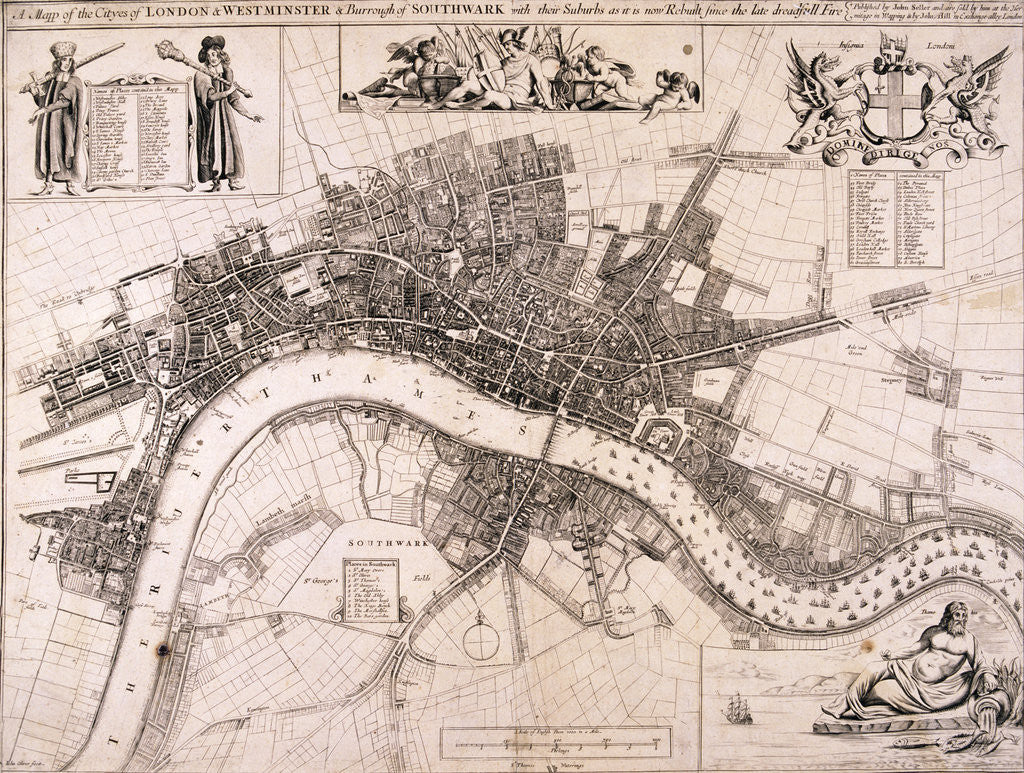 Detail of Map of London by John Oliver