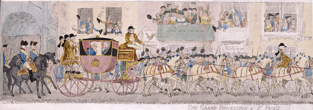 Detail of Procession of King George III and Queen Charlotte to St Paul's Cathedral, London by Thomas Rowlandson