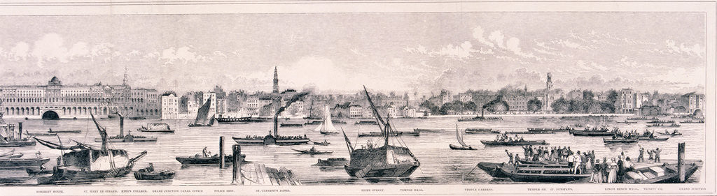 Detail of London from the River Thames, 1844 by