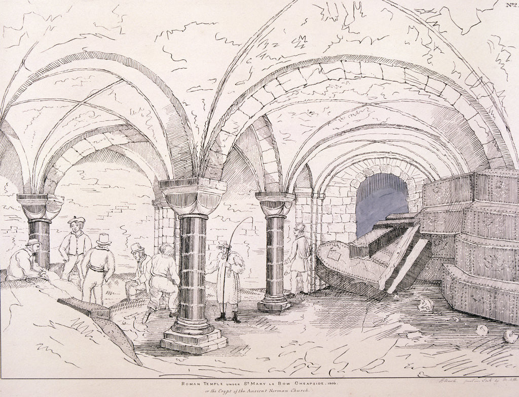 Detail of Crypt of St Mary-le-Bow by Frederick Nash