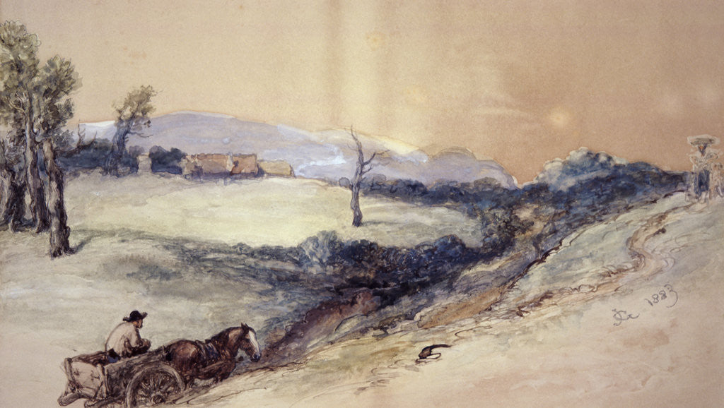 Detail of Landscape with Horse and Cart by Sir John Gilbert