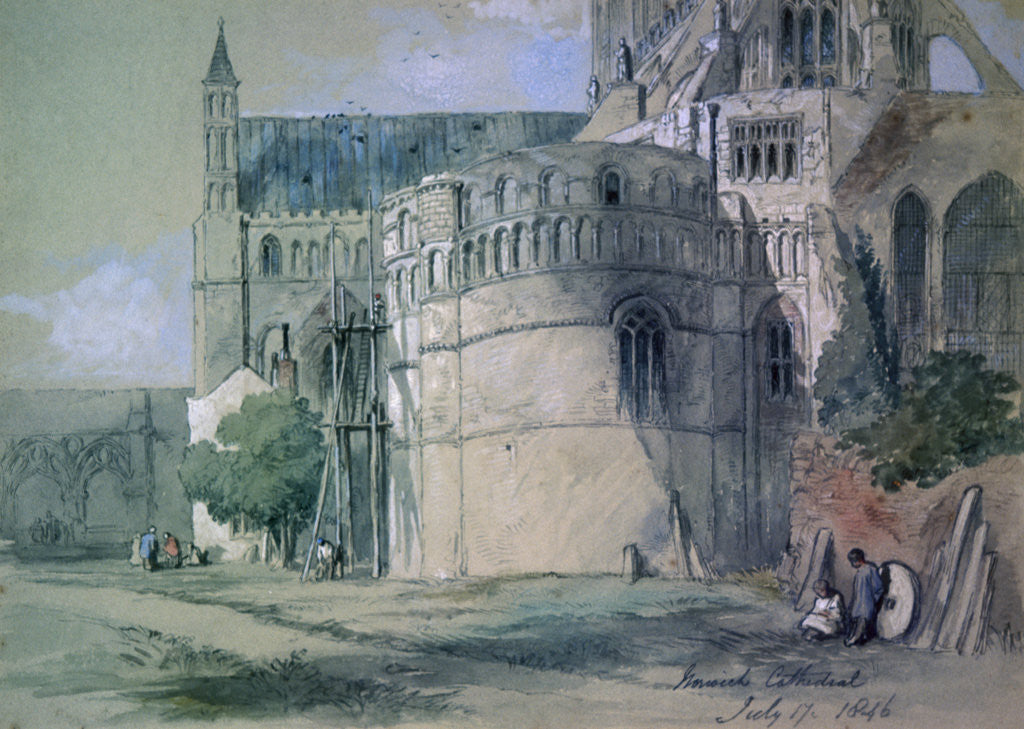 Detail of Norwich Cathedral by Sir John Gilbert