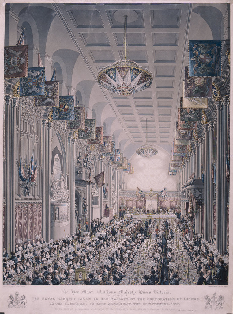 Detail of Banquet for Queen Victoria at the Guildhall, London by RG Reeve