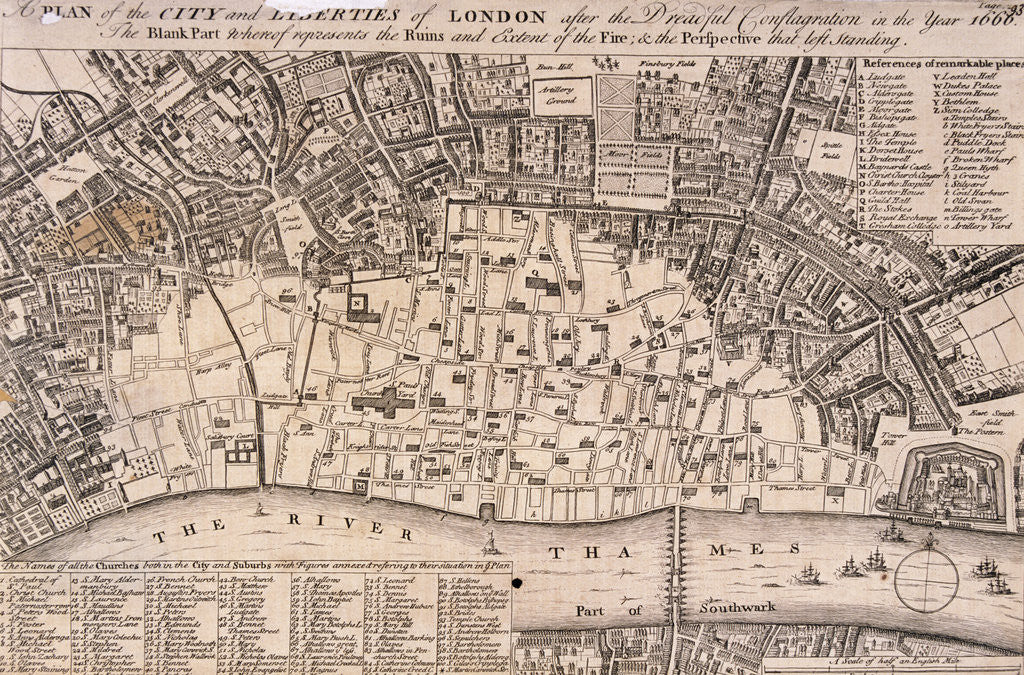 Detail of Map of London by Anonymous
