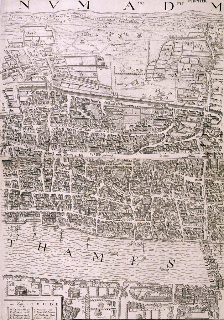 Detail of Map of London, 1560 by
