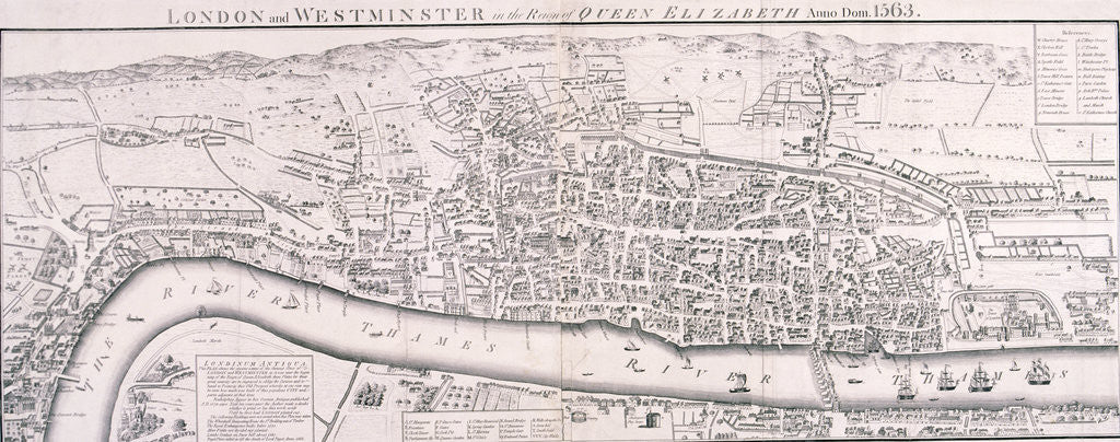Detail of Map of London, 1789 representing Elizabethan London by Anonymous