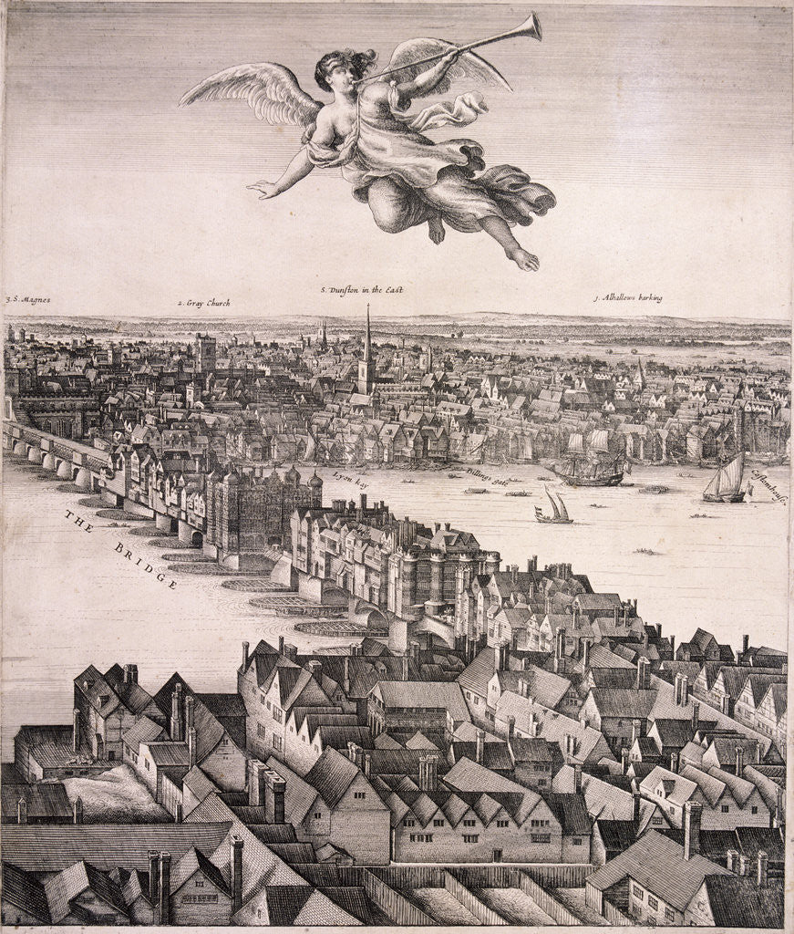 Detail of Panoramic view of London by Wenceslaus Hollar