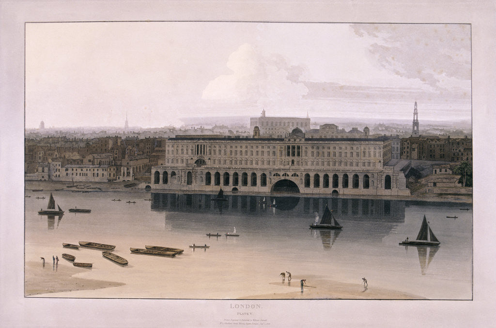 Detail of Somerset House, London by William Daniell