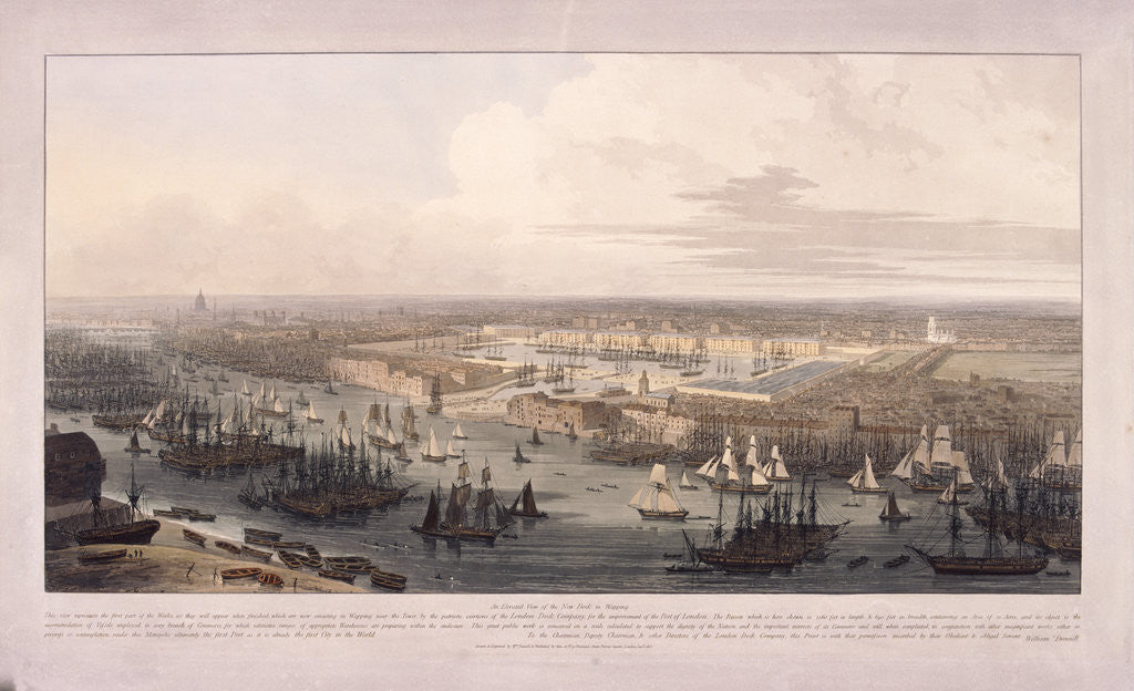 Detail of London Docks by William Daniell