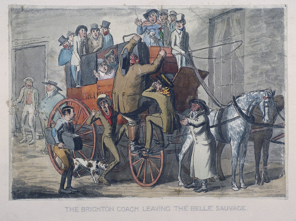 Detail of Brighton Coach leaving th Belle Sauvage Inn, London by Anonymous