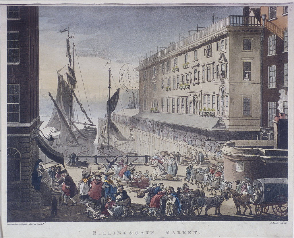 Detail of Billingsgate Market and Wharf, London by