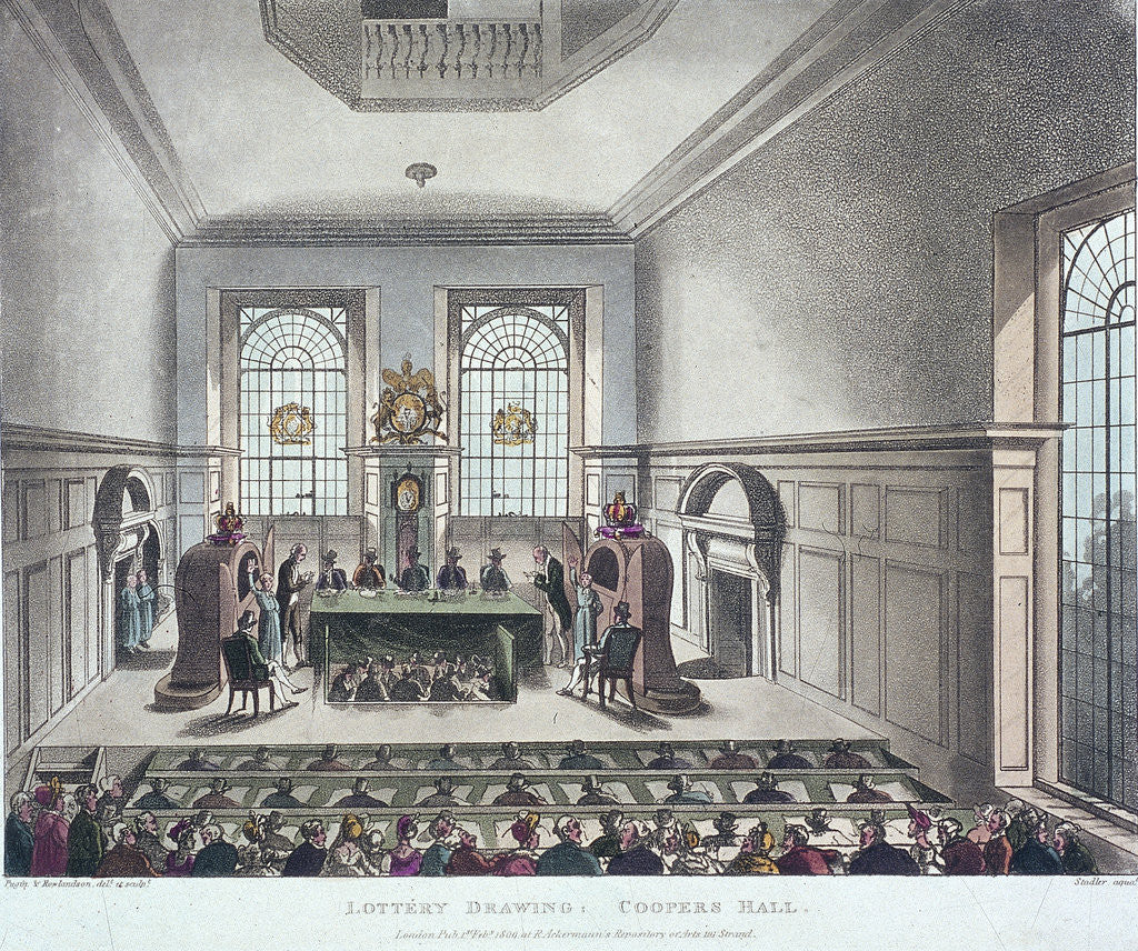 Detail of Drawing of the State Lottery, Coopers' Hall, London by Joseph Constantine Stadler