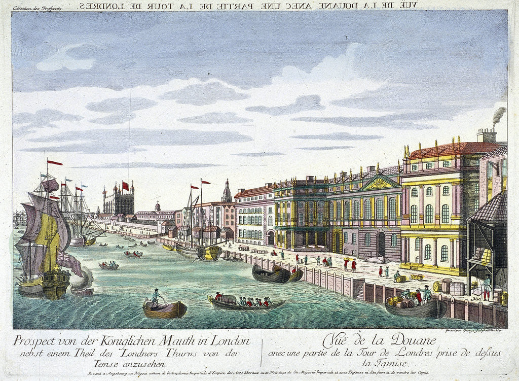 Detail of View of Custom House and River Thames, London by George Godofroid Winkler
