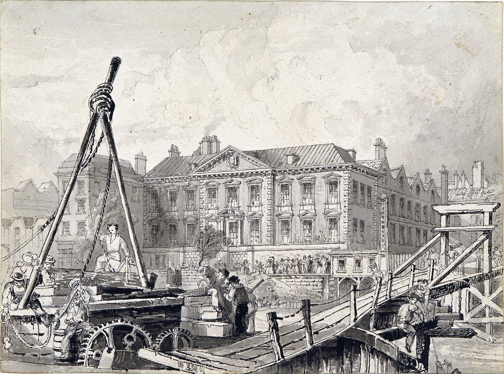 Detail of Fishmongers' Hall, Thames Street, London by William Henry Bartlett