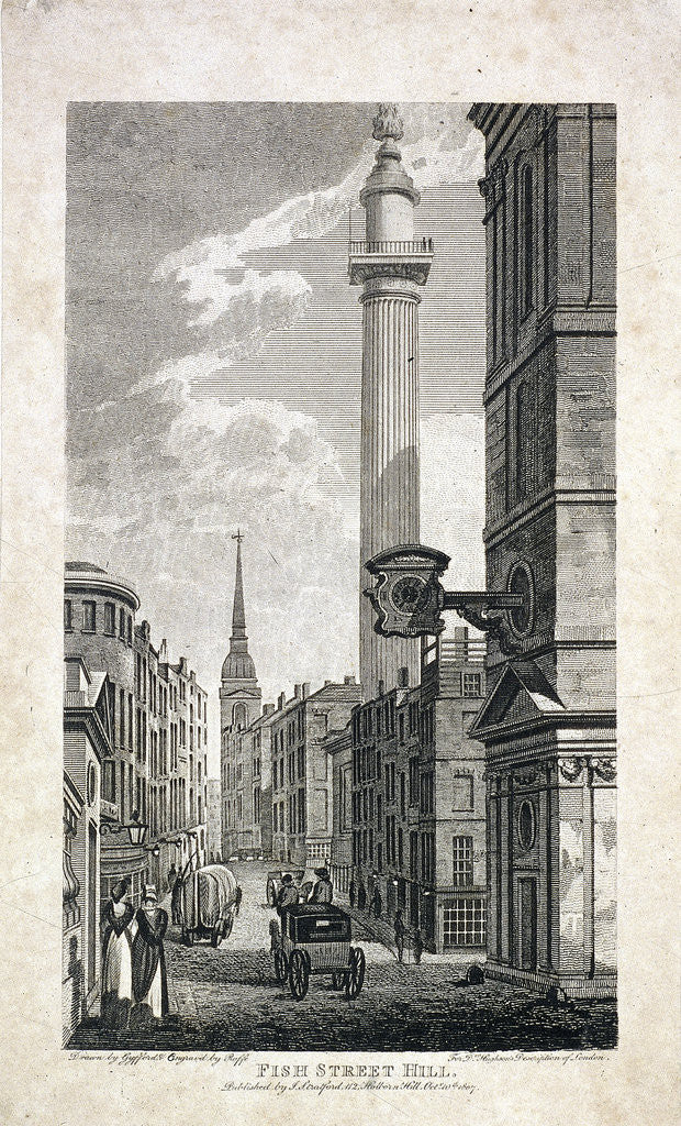 Detail of Fish Street Hill and the Monument, London by Robert Cabbel Roffe