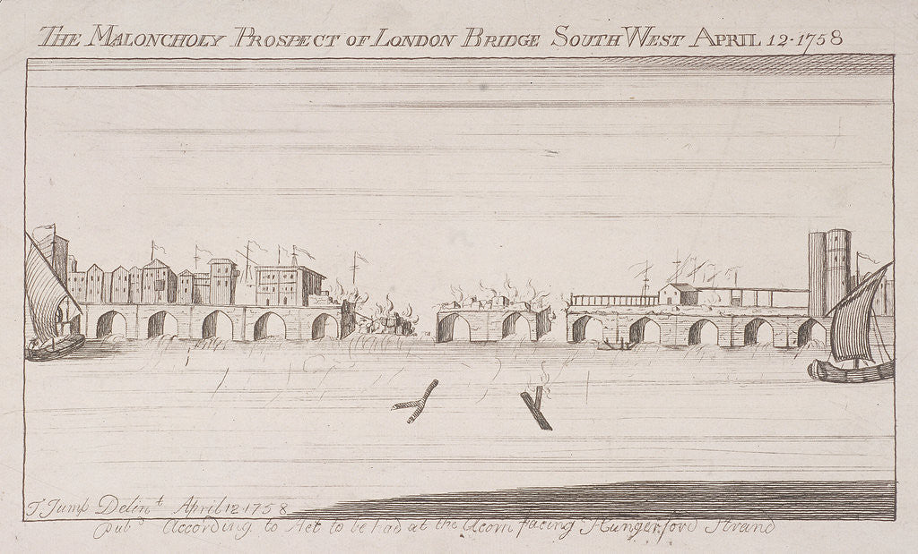 Detail of London Bridge (old), London, 1758 by Anonymous