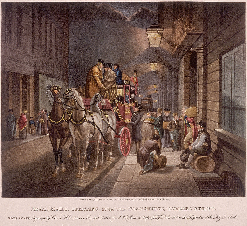 Detail of General Post Office, Lombard Street, London, 1827 by