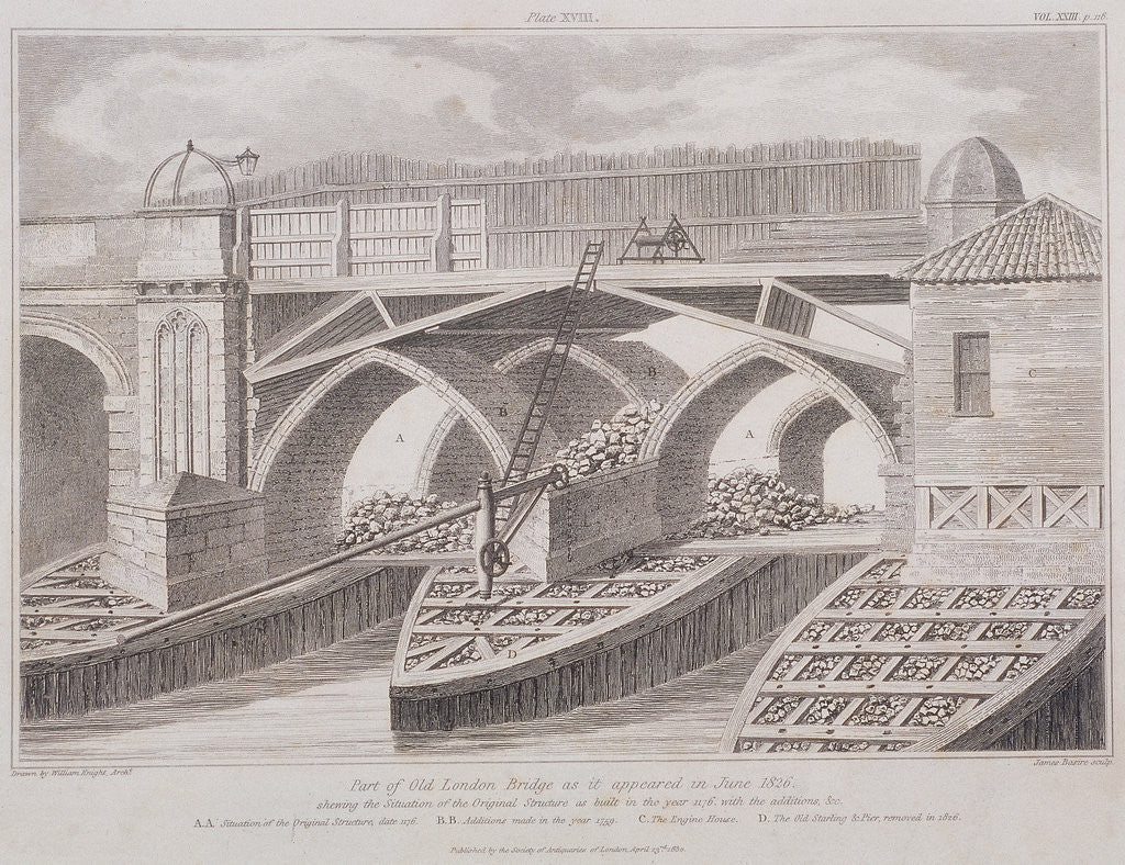 Detail of London Bridge (old), London by James Basire I