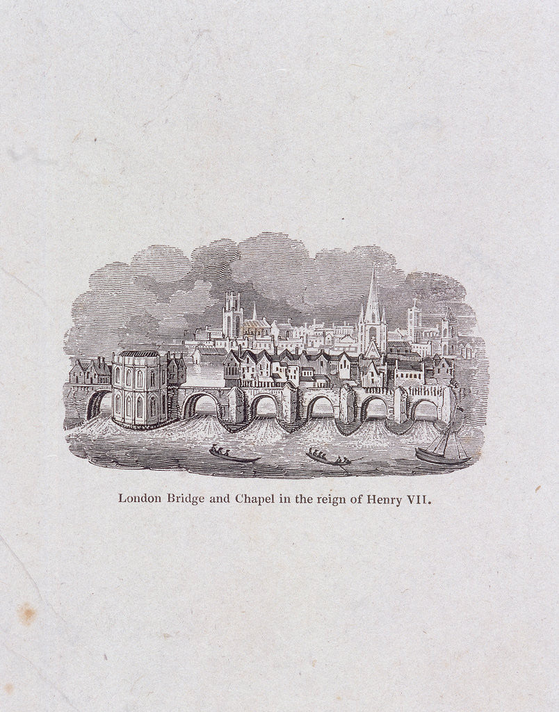 Detail of London Bridge (old), London, (c1800?) by Anonymous