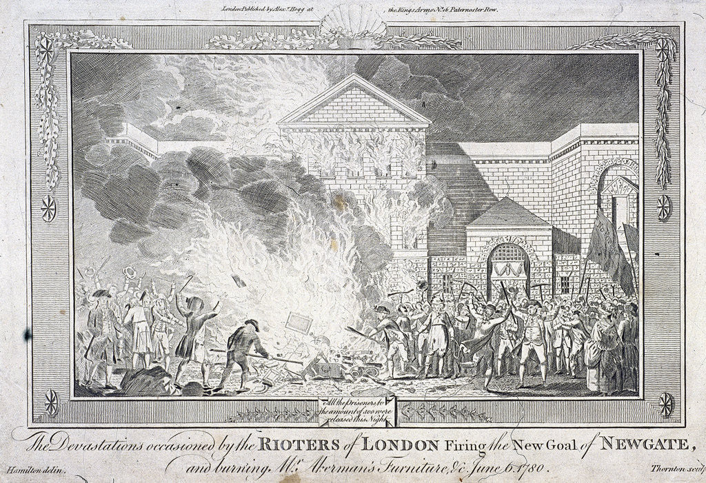 Detail of Gordon Riots, Newgate Prison, London by Thornton