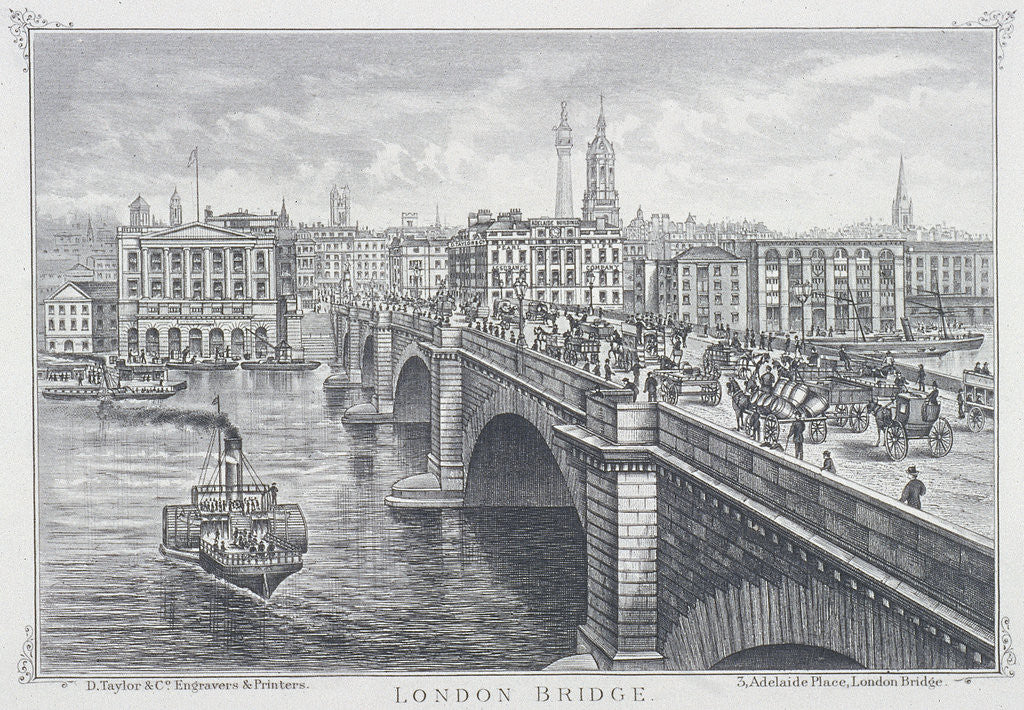 Detail of London Bridge (new), London by D Taylor & Co