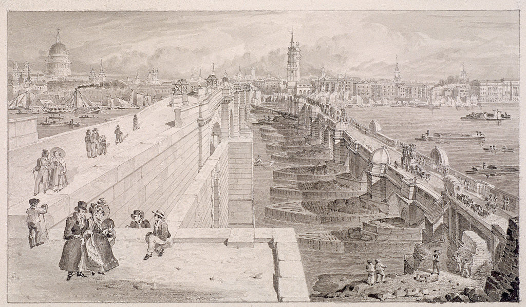 Detail of London Bridge (old and new),London by Thomas Hosmer Shepherd