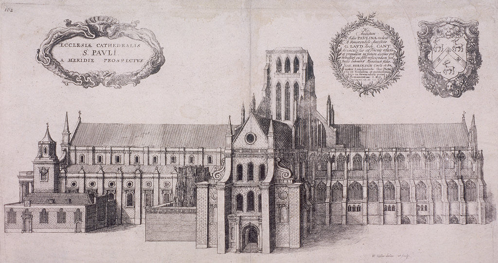 Detail of St Paul's Cathedral (old), London by Wenceslaus Hollar