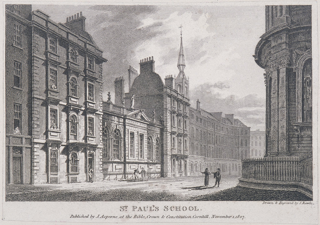 Detail of St Paul's School, London by Samuel Rawle