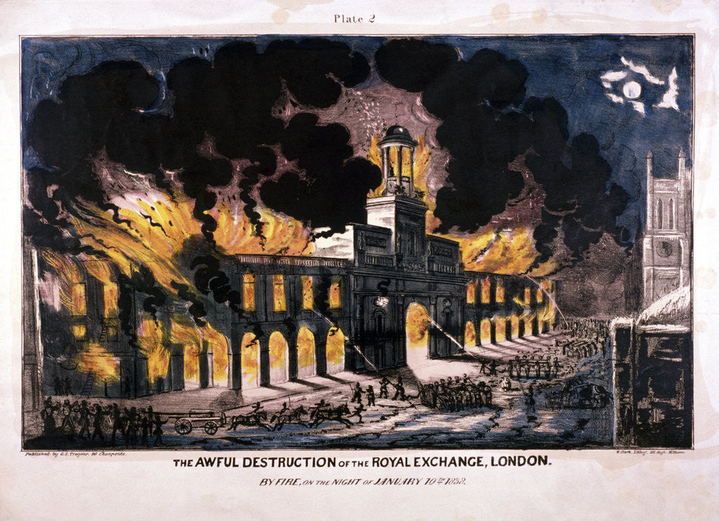 Detail of The Awful Destruction of the Royal Exchange (2nd) fire, London by