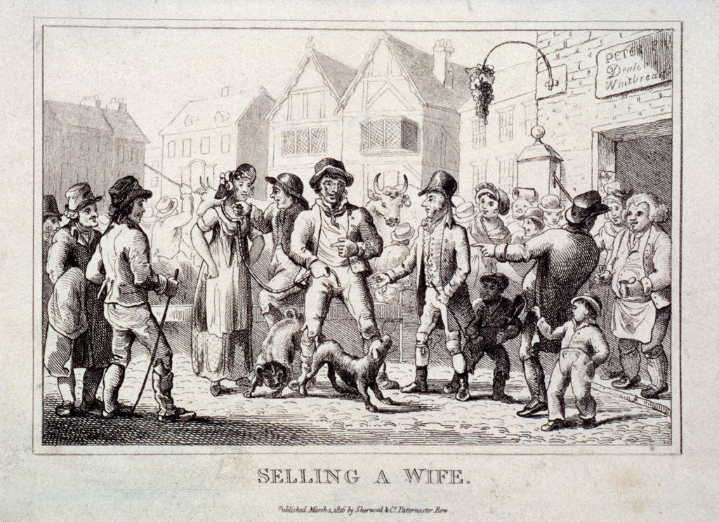 Detail of A wife being sold at Smithfield Market, London by Anonymous