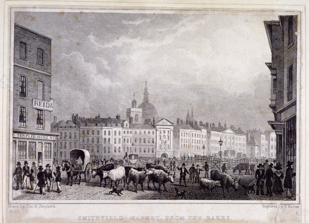 Detail of View of Smithfield Market from the Barrs, London by Thomas Barber