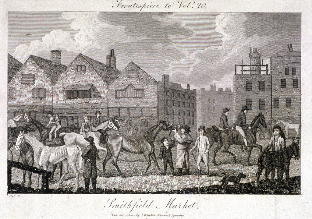 Detail of View of the horse fair at Smithfield Market, London by Charles Pye