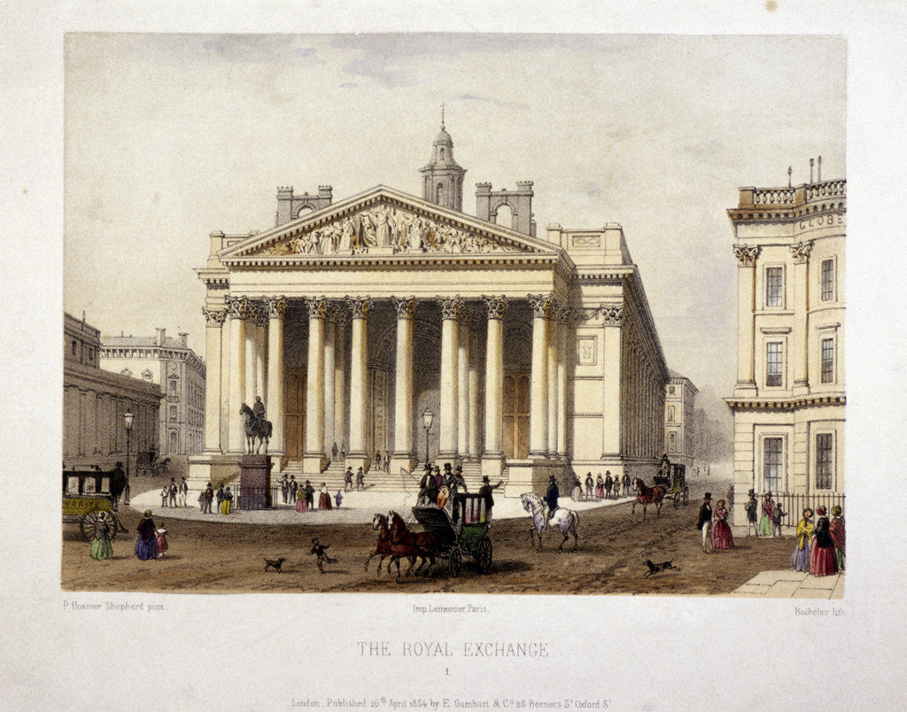 Detail of View of the Royal Exchange's west front, London by Charles Claude Bachelier